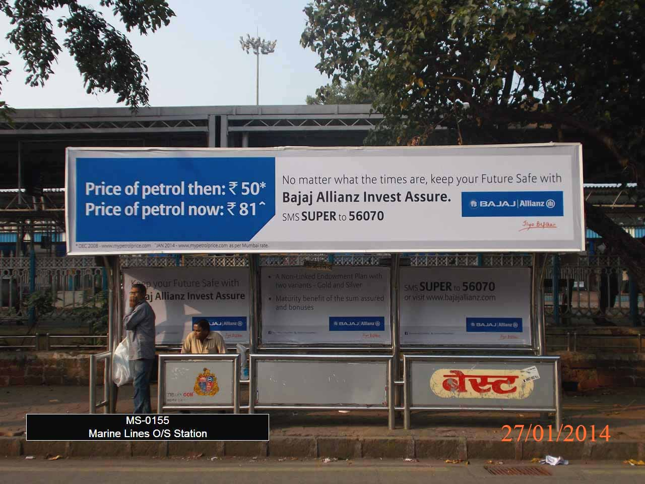 Outdoor Advertising in Bus Shelter Marine Lines